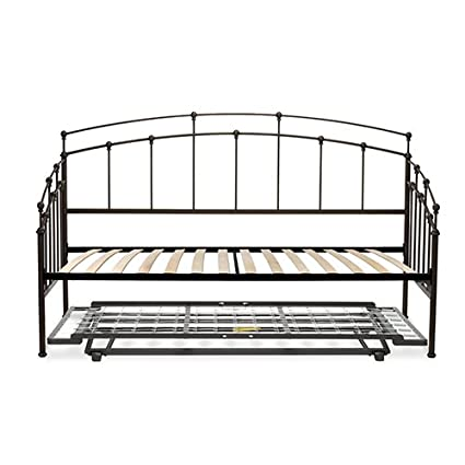 Fenton Complete Metal Daybed with Euro Top Deck and Trundle Bed Pop-Up Frame,