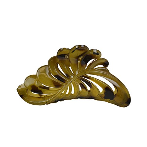 Leopard Olive - Olive Leopard 5 inch Large Jaw Clip Hair Claw with leaf design (Motique Accessories)