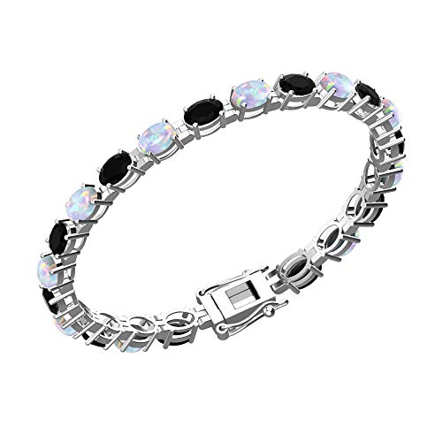 Solid Sterling Silver 6x4mm Oval Cut 8.5 CTW Black Onyx and Created Opal Brilliant Sparkle Tennis Bracelet for Women, Box Chain with Safety