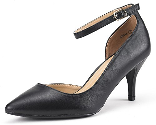DREAM PAIRS IDEAL Women's Evening Dress Low Heel Ankle Strap D'orsay Pointed Toe Wedding Pumps Shoes Black PU Size 8.5