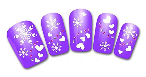 1 Sets Christmas Snowflake Nail Art Stickers DIY Manicure Watermark Water Transfer Nails Wrap Paint Tattoos Stamper Plates Templates Tools Tips Kits Great Popular Xmas Winter Snow Holidays Decals Kit ()