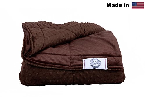 Luxury Minky Weighted Blanket -Made In America- Many Sizes & Colors (Brown, 16lb (Medium Brown Chenille Fabric)