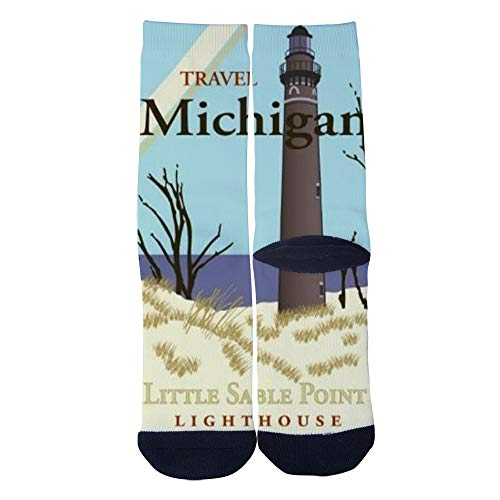 Sable Michigan Lighthouse - Men's Women's Custom Crew Socks Travel Michigan Little Sable Point Lighthouse Socks Colorful Patterned Comfortable Socks Black