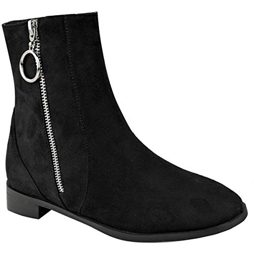 LADIES RIDING PULL WOMENS Faux Black ELASTIC CHELSEA Suede ANKLE BOOT GUSSET HEEL SIZE SHOES LOW FLAT HEEL Zip ON qPzxAwqSr