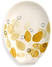 Summer Flowers Glossy Yellow and Brown 6 x 5 Ceramic Stoneware Oval Spoon Rest