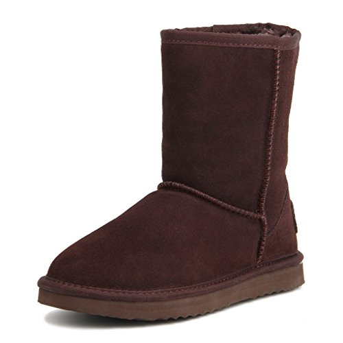 AUSLAND Women's Water Resistant Classic Leather Mid-Calf Snow Boots 5125 Chocolate 5.5US 36 ()