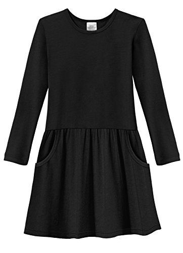City Threads Girls' Jersey Drop Waist French Pocket Cotton Dress For School Play Party