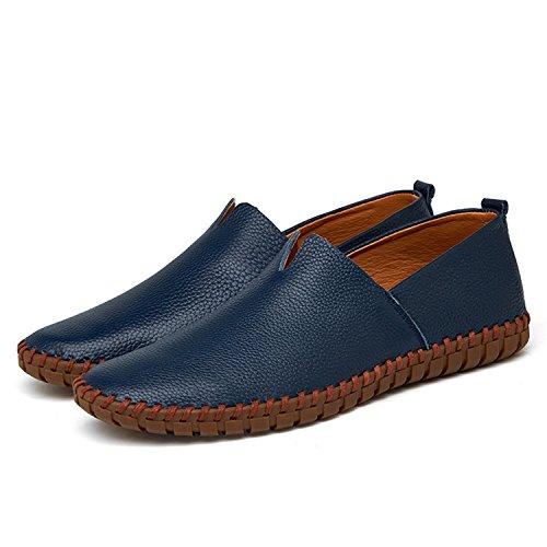 Cuero Zapatos Shoes Mocasines Zapatos Hechos Flats Mocasines a Mano Blue Breathable Zapatos Slip Hombre On Genuino de Soft Hombres xTTwYF