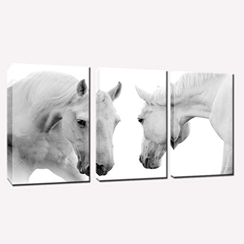 2 White Horses Canvas Art Prints for Modern Home Wall Decor Stretched Ready to hang (16x24inch ()
