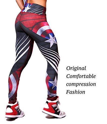 Active4U Superhero Crossfit Leggings Women Colombian Yoga Pants Compression Tights (Small-Medium, Captain ()