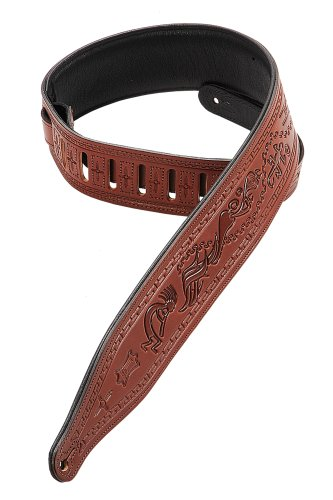 Carving Leather Tooled Guitar Strap - Levy's Leathers M17T03-WAL Carving Leather Tooled Guitar Strap,Walnut