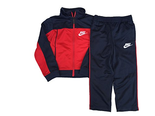 NIKE Little Boy's 2 Piece Tricot Warm-Up Jacket & Pants (2T, Obsidian (76B255-695)/University Red/White)
