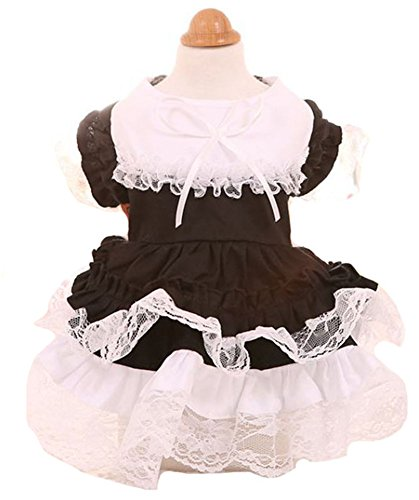 MaruPet Sping/Summer Sweet Puppy Dog Maid Princess Lapel Skirt Pet Dog Hollow Tutu Dress with Bell for Teddy, Pug, Chihuahua, Shih Tzu, Yorkshire Terriers, Papillon Black S ()