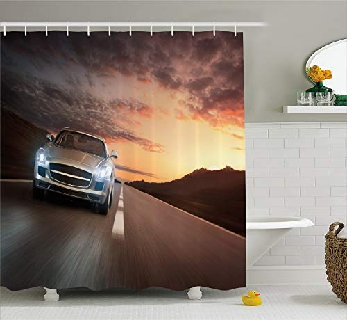 Lunarable Nursery Shower Curtain, Modern Car on The Road at Sunset with Dramatic Sky Scenery Highway Picture, Fabric Bathroom Decor Set with Hooks, 105 Inches Extra Wide, Bronze and Silver ()