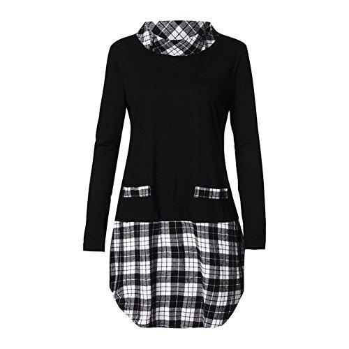 Laimeng_World Women Blouse Women 's Plus Size Autumn Winter Long Sleeve Tee Plaid Patchwork Tops