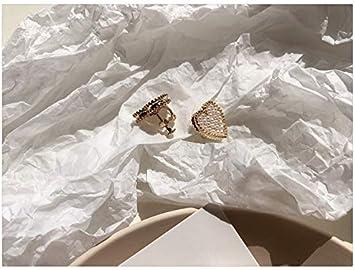 Chwewxi Pendientes de Perlas Lindos de corazón de niña Adornos de Oreja de corazón de Temperamento de Corea Pendientes Clips de Oreja Anillos Antiguos, Tornillo de Oreja de Tornillo 1L