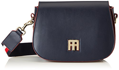 c28ea79955 Tommy Hilfiger Th Twist Saddle Bag Leather Corperate - Borse a tracolla  Donna, Blau (