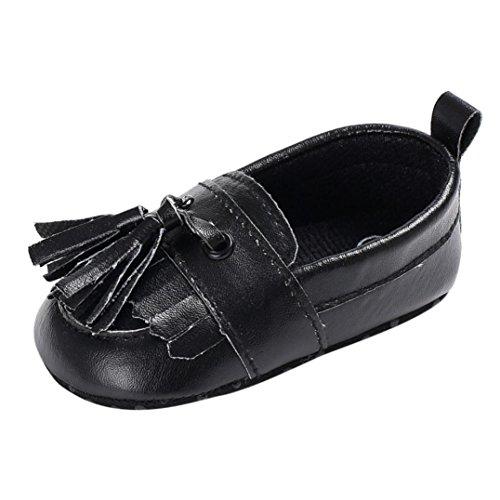 Igemy 1 Paar Baby Schuhe Jungen Mädchen Neugeboren Leder Krippe Soft Sole Schuhe Sneakers Schwarz