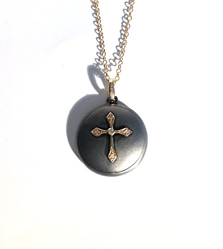 Diamond Cross Disc Unique 14K Solid Yellow Gold With Blackened Sterling Silver Matte Finish