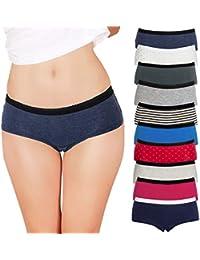 Womens Boyshort Panties (10-Pack) Comfort Ultra-Soft Cotton Underwear