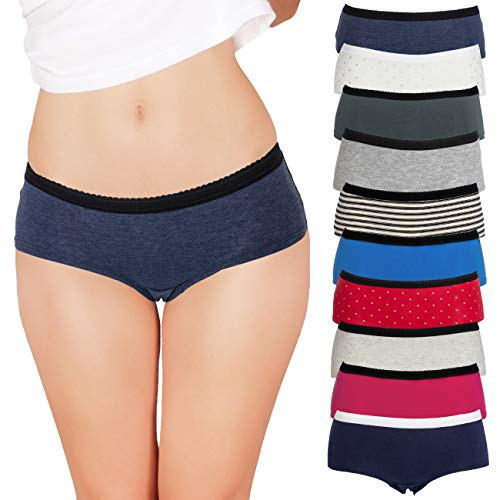 Boys Panties In (Emprella Womens Underwear Boyshort Panties Cotton/Spandex - 10 Pack Colors and Patterns May Vary … (Large, Assorted))