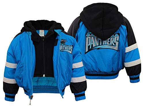 Mighty Mac Carolina Panthers NFL Little Boys Toddlers Full Zip Bomber Jacket Coat with Black Fleece Hood, Color Options (3T, Blue with Black & White Stripes)