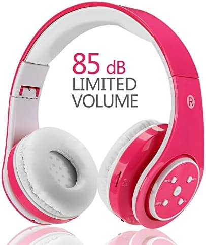 Kids Headphones Bluetooth Wireless,VOTONES Over Ear Wireless/Wired Headphones for Boys Girls 85db Volume Limited Foldable Childrens Headset, Stereo Sound,Compatible with PC/Tablets/Smartphones (Pink)