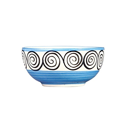 Caffeine Ceramic Handmade Blue Doodle Dessert Bowl  Set of 1
