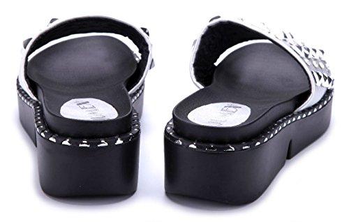 c41565e300e431 Schuhtempel24 Damen Schuhe Pantoletten Sandalen Sandaletten Flach  Nieten Ziersteine Silber ...