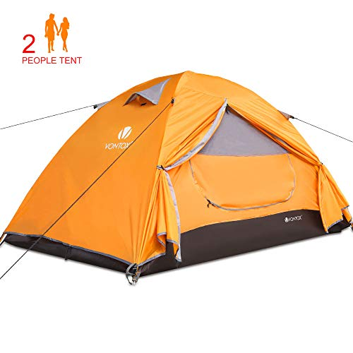 V VONTOX Camping Tent 2-Person Lightweight Backpacking Tent Waterproof Two Doors Easy Setup Tent, for Family in Traveling, Beach, Camping and Outdoor Activit