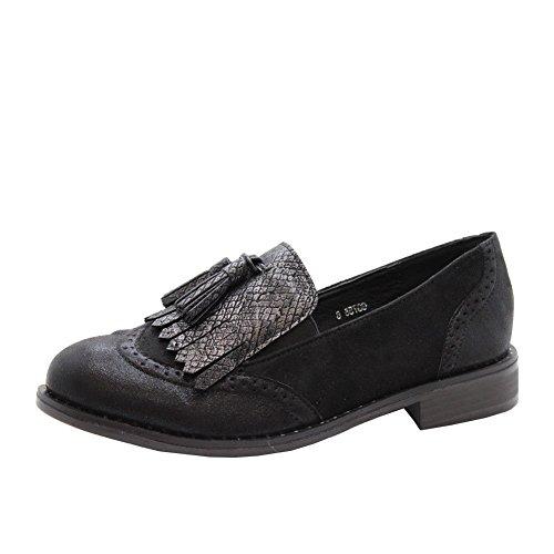 Brogue Mocassins Slip Taille Styles Bureau Gland On Pompes 41 Chaussures Ballerines Mesdames Noir 36 Saute Femmes BqHwXq0