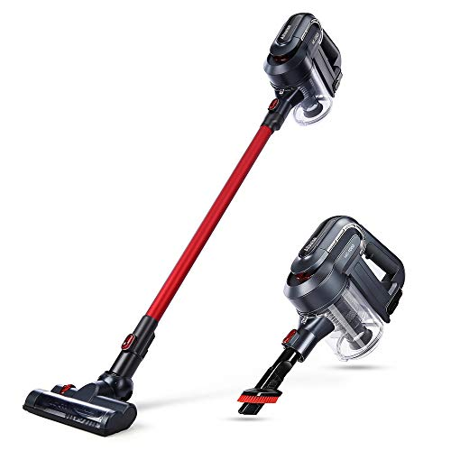 Cordless Vacuum Cleaner Brushless Non-Motorized Powerful Cleaning Dust Catcher 2 in 1 Bristle Roller Brush Stick & Handheld Bagless Vacuum Cleaner for Carpet, Hard Floor with HEPA Filtration