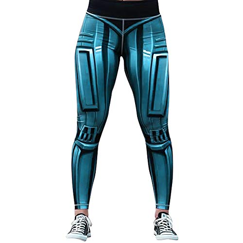 POQOQ Pants Women Fashion Workout Leggings Slim Fitness Sports Run Yoga Athletic S Blue