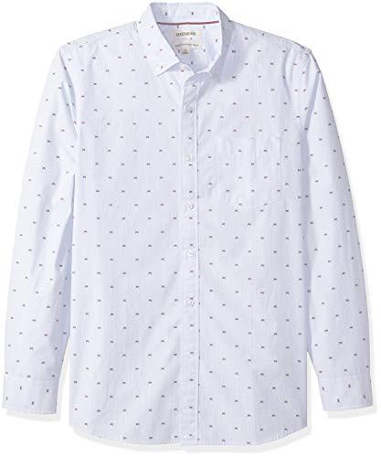 (Goodthreads Men's Standard-Fit Long-Sleeve Dobby Shirt, -blue stripe Crabs, Large )
