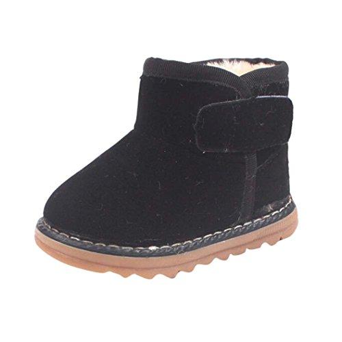 Zapatos de Niños Niños Niñas de piel, Koly botas invierno gruesa de nieve (21_cm, Red) negro