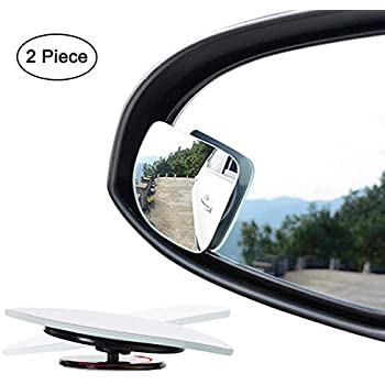 Low Curvature Frameless Stick On Lens Pack of 2 HD Glass Convex DEDC Blind Spot Mirror Fan Shape 360 Degree Rotate Sway Adjustabe Blind Spot Mirrors