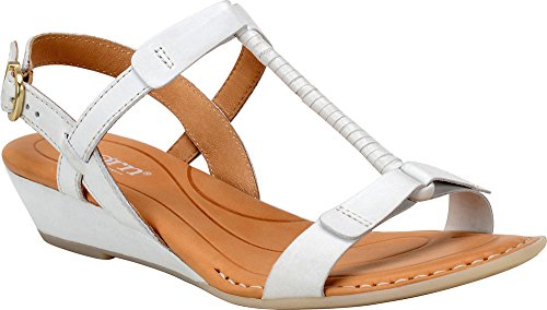 B.O.C Womens Douala Leather Open Toe Casual Platform Sandals White Full Grain