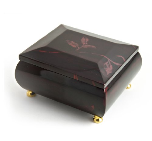 Stunning Burgundy Beveled Top Music Jewelry Box With Artistic Floral Motif - Wedding March (Mendelssohn) - SWISS by MusicBoxAttic