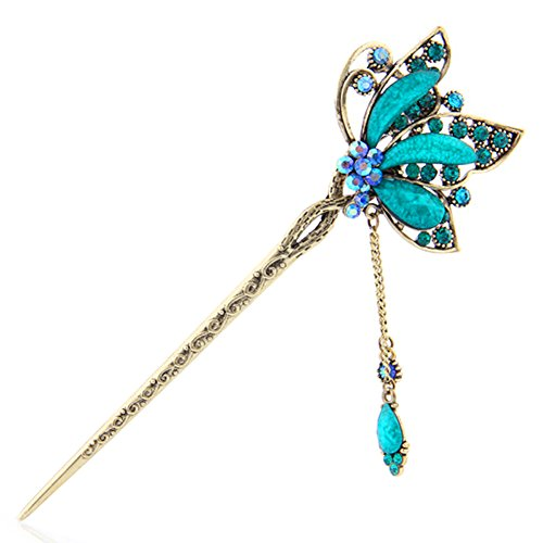 (YOY Fashion Long Hair Decor Chinese Traditional Style Women Girls Hair Stick Hairpin Hair Making Accessory with Butterfly,Peacock Blue)
