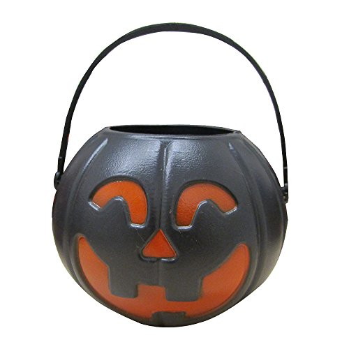 dazzling toys Halloween Black Candy Holder with Orange Pumpkin | Candy Holder with Handle | Mini Trick-or-treat Halloween Candy Jar | 12 pack ()