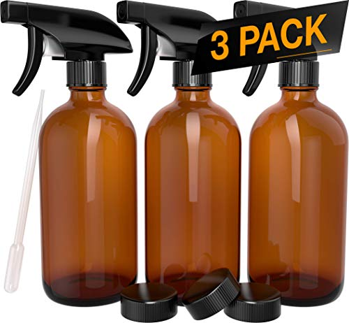 Nylea 3 Pack Refillable 16 oz Empty Amber Glass Spray Bottles [Free Phenolic Cap and Pipette] Great for Cleaning Solutions, Hair, Essential Oils, Plants - Trigger Sprayer with Mist and Single Mode ()