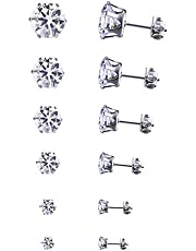 Niome 6Pairs/Set Mens Women Stainless Steel Round Cubic Zircon Crystal Ear Studs Earrings Fashion Jewelry White