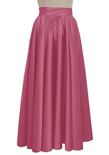 E K Women duchess maxi skirt Formal prom evening wedding bridesmaid long skirt-Pink xs by E K