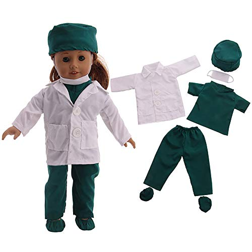 Jieson 6PC Doll Clothes Doctor Uniform for 18 Inch American Girl Doll to Baby (White) from Jieson