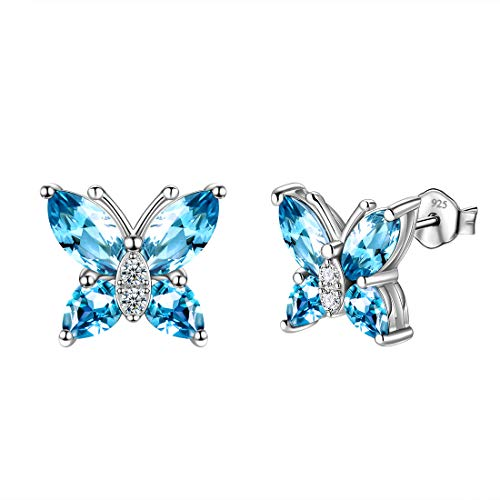 (Aurora Tears Light Blue Stud Butterflies Earrings 925 Sterling Silver Minimalist Butterfly Earring Tiny Swiss-Blue Stud Jewelry DE0078S)