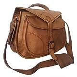 Habiller~ Women Leather 8 Ltr. Vintage Brown DSLR Camera Messenger Crossbody Bag 12X11'-(CAM104)