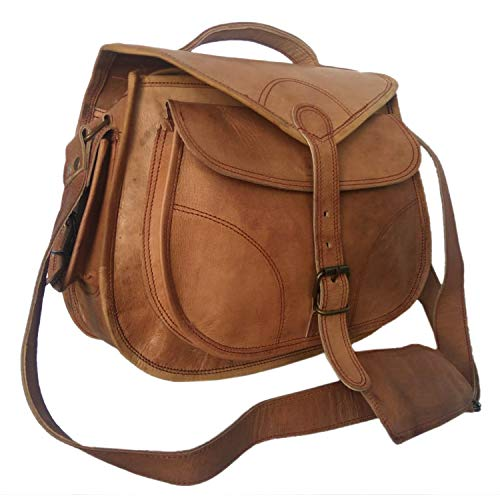 Habiller~ Women Leather 8 Ltr. Vintage Brown DSLR Camera Messenger Crossbody Bag 12X11'-(CAM104)