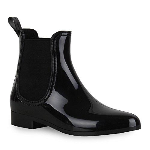 Stiefelparadies Damen Stiefeletten Gummistiefel Lack Chelsea Boots Blockabsatz Regenschuhe Wedges Keilabsatz Schuhe Plateau Boots Flandell Schwarz Agueda