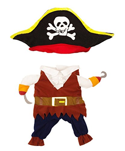 Dog Costume Cat Pet Halloween Christmas Santa Outfit Clothes Caribbean Pirate for Medium Dogs Puppy]()