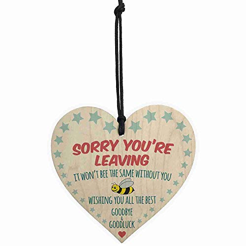 Plaques Signs - Sorry You 39 Re Leaving Wooden Hanging Heart Cute Funny Work Colleague Gift - Glove Teether Taken Pen Pen Up Shirt Shirt Plush Pillow Colleague & 1100 Wind Signs Blue Aug